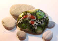 """Painted stones Painted rocks """"Two Koi"""" Astrology Sign Fishes Koi, Fishing Signs, Rock Crafts, Painted Stones, Astrology Signs, Stone Painting, Rock Art, I Shop, Create"""