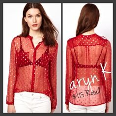 Red and gold sheer blouse! Red and Gold blouse Aryn k  Tops Blouses