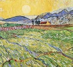 """Enclosed wheatfield with rising sun"" (1889) By Vincent van Gogh, Private Collection: Sammlung R. Oppenheimer, San Francisco, California, US"