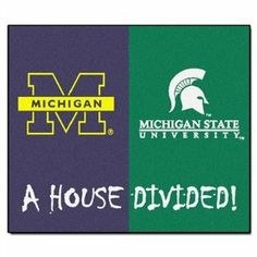 """Michigan Wolverines 34""""x44.5"""" House Divided Floor Mat (Rug) by Fanmats. $33.48. Michigan Wolverines vs Michigan State Spartans. 34"""" x 45"""" House Divided Area Rug / Mat. Big rivalries call for big FANMATS. Made in U.S.A. 100% nylon carpet and non-skid Duragon® latex backing. Machine washable. Officially licensed. Chromojet painted in true team colors."""