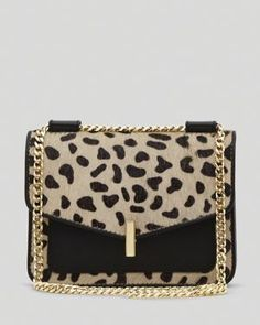 Black + Animal Print cross-body bag.  <3