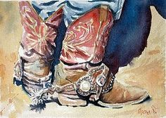 love these boots and spurs! painted by gena lacoste