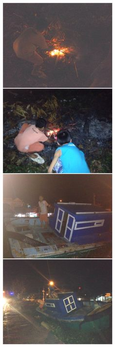 Local boys burning fluorescent light bulbs and causing mischief in an abandoned boat Con Dao archipelago island Vietnam