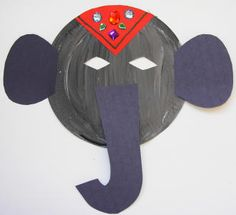 I like the elephant headdress w/ jewels idea; combine with elephant with party noise maker trunk -- Art of India Bar Kunst, Party Noise Maker, Kids Crafts, India Crafts, Elephant Crafts, World Thinking Day, Diwali Craft, India Art, India India