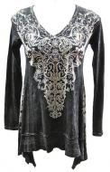100% distressed black cotton with crystal accents and fluer de lis pattern