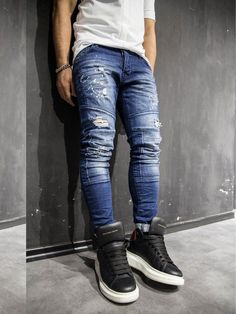 d22d45f9c1 2Y Men Slim Fit Ripped Destroyed Paint Mini Bars Jeans - Blue