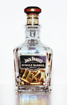 Jack Daniel's Bottle filled with Bullets Jack Daniels Single Barrel, Jack Daniels Bottle, Jack Daniels Lamp, Jack Daniels Drinks, Bebidas Jack Daniels, Tequila, Whiskey Bottle, Vodka Bottle, You Don't Know Jack