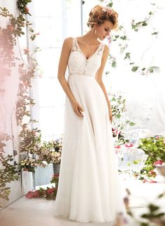 Wedding Dresses - $188.14 - Empire V-neck Sweep Train Chiffon Wedding Dress With Lace Beading (0025093151)
