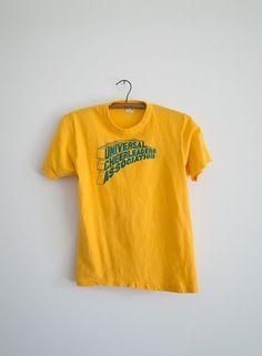 70's Cheerleader Tee / Vintage Yellow UCA T-Shirt / Women's XS Cotton Top