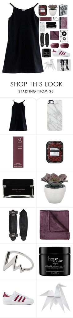 """""""you know he's only calling cuz he's drunk and alone"""" by thunderingwaves ❤ liked on Polyvore featuring American Apparel, Uncommon, Ilia, Narciso Rodriguez, Torre & Tagus, GoldCoast, JCPenney Home, philosophy, NARS Cosmetics and adidas"""