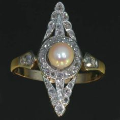 Victorian pearl ring marquise shape 18k rose gold rose cut