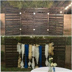 Pallet wall - my husband and I made this pallet wall for a wedding backdrop. It turned out perfect. I love it! #palletwall #weddingbackdrop  #palletproject (hawaiian luau backdrop)
