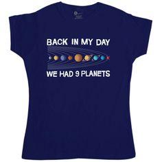 We Had Nine Planets Women's T Shirt - Navy / 8-10