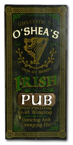 Pub Sign Headquaters: Wood pubs signs, Custom Barrel Heads and personalized signs for every occasion. The Perfect Sign sells wood pub signs and personalized gifts. Irish Pub Interior, Irish Pub Decor, Bar Signs, Shop Signs, Café Theatre, Menue Design, Irish Bar, Irish Whiskey, Coffee Shop