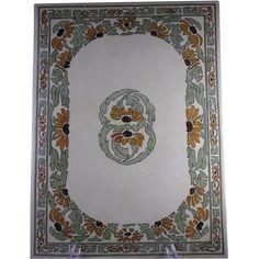 RARE & LARGE T&V Limoges Arts & Crafts Black-Eyed Susan Design Tile/Plaque (c.1892-1907) Black Eyed Susan, Dark Flowers, Autumn Decorating, Limoges, Arts And Crafts Movement, Plaque, Tile, Porcelain, Pottery