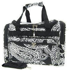 Black White Paisley Print Duffle Dance Gym Bag Luggage Carry On Shoulder Pads, Shoulder Strap, Duffle, Duffel Bags, Black And White Bags, Luggage Brands, Side Bags, Backpack Purse, Paisley Print