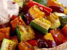 Roasted Vegetables with Chipotle Cream Recipe : Giada De Laurentiis : Food Network