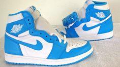 Nike Air Jordan UNC 1 Retro I High OG Powder Blue White New Men 555088-117 Sz9.5 #Jordan #BasketballShoes