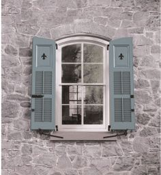 Combination Louver Panel Exterior Shutters With Radius Tops Fleur De Lis Cutouts And Clic Shutter Hardware