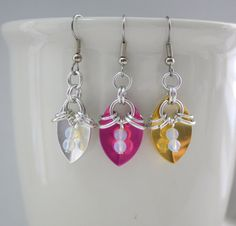 Chainmaille Single Scale Earrings with Sea Opal Glass Beads