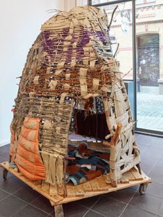 Cagey, 2012 by Alexandra Bircken Art Fibres Textiles, Textile Fiber Art, Textile Sculpture, Wood Sculpture, Willow Weaving, Basket Weaving, Contemporary Baskets, Yarn Bombing, Environmental Art