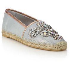 Rene Caovilla Jeweled Suede Espadrille Flats ($1,185) ❤ liked on Polyvore featuring shoes, flats, apparel & accessories, silver, rene caovilla shoes, espadrilles shoes, metallic flats, jeweled flats and suede leather shoes
