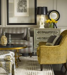 Grey + Gold + Black Shade.  Love the pop of gold.-----layout