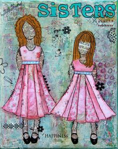 Mixed Media Original Art  Sisters by BaxtersMom on Etsy, $45.00