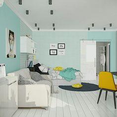 Студия для молодой девушки в одном из наших проектов. #designinterior #designstudio #design #livingroom #yellow #дизайнинтерьеров #интерьер #дизайн