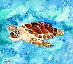 """sea turtle sea life painting print"" by Derek McCrea, Columbus // sea turtle turtles marine sea life sealife watercolor ocean marine animals painting poster print gift ideas for lovers of turtles cute adorable sweet baby turtle swimming aqua waves surf water beach nautical marine coastal art decor picture drawing illustration water color p... // Imagekind.com -- Buy stunning fine art prints, framed prints and canvas prints directly from independent working artists and photographers."