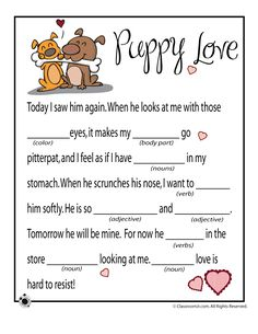 Need a fun activity for your kids on Valentine's day? Check out our FREE Valentine's Day Mad Libs Printables! Valentines Day Activities, Valentines Day Party, Activities For Kids, Valentine Ideas, Valentine Games, Puppy Valentines, Printable Valentine, Reading Activities, Valentine Crafts