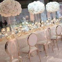 Tall white centerpieces