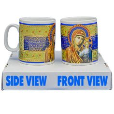 Porcelain cup, Our Lady of Kazan  Height: 9.5cm (3.74 inch)  Decorative porcelain cup, serigraphy, hot decal, framed in gold 18K, handmade.