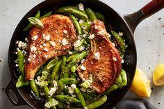 One-Pan Pork Chops With Feta, Snap Peas and Mint Recipe Pan Pork Chops, Seared Pork Chops, Pork Loin, Roasted Salmon, Roasted Chicken, Asparagus Pasta, Broccoli Salad, Turkey Stir Fry, Whole Roasted Cauliflower