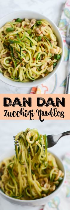 Dan Dan Zucchini Noodles - a healthy twist on the classic! Zucchini noodles, pork, and a delicious spicy sauce!
