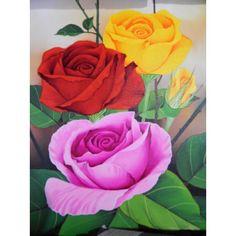 Lukisan Objek Motif Bunga Mawar  Tinggi: 40cm x Lebar: 90cm  Bahan: Canvas  Sangat cocok digunakan sebagai pajangan di ruang tamu, maupun di ruangan pribadi anda.