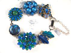 Vintage Earring Bracelet Bridesmaid Gift by JenniferJonesJewelry. I love the vibrancy of this colour combo...