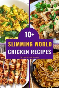 So, you're looking for Slimming World Chicken Recipes? Well, look no further because here are lots of delicious recipes using chicken that are perfect when you are Food Optimising! From chicken curries and chicken stir-fries to slow cooker recipes and easy, fuss-free one-pan tray bakes, the Slimming World friendly recipes you'll find here can be enjoyed by the whole family, and not just those following the SW plan! #SlimmingWorldChickenRecipes #ChickenRecipes #Recipes #ThePurplePumpkinBlog Sw Chicken Curry, Chicken Risotto, Chicken Tikka, Slow Cooker Chili, Slow Cooker Recipes, Slimming World Chicken Dishes, Recipes Using Cooked Chicken, Pumpkin Stew, Cooking A Roast