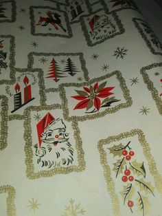 Vtg Christmas gift wrapping paper roll Santa Claus reindeer tree candle holly