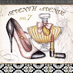 Boutique de Luxe III, 7th avenue store window, seventh avenue store window, seventh avenue advertisement, vintage shoe, high heel, vintage perfume bottle