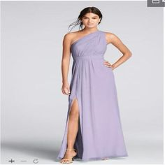 Long One-Shoulder Crinkle Chiffon Bridesmaid Dresses With High Slit Wedding Party F18055 Long Dresses