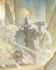 The Silmarillion by Justin Gerard. Fingolfin faces Morgoth!