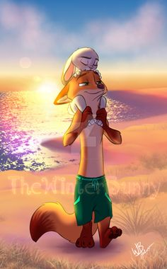 """Nothing like a good day at the beach. ^-^ See original here: """"Day At The Beach Part And Be sure to check out my Gallery at TheWinterBunny Nick & Judy © Disney Picture © Disney Zootropolis, Disney Movies To Watch, Arte Disney, Disney Couples, Disney Marvel, Nick Y Judy, Nick And Judy Comic, Zootopia Fanart, Zootopia Comic"""