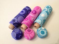 Polymer Clay Swirls Needle Holder Small by handmademom on Etsy,