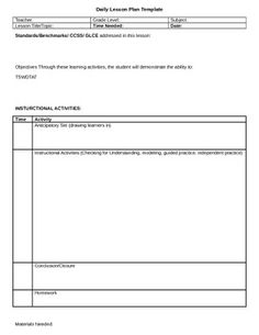 Lesson Plan Template Editable School Pinterest Lesson Plan - Blank daily lesson plan template