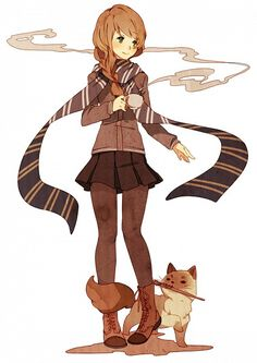 At first I thought she was a normal girl.... but notice her scarf and what's in the cats mouth....