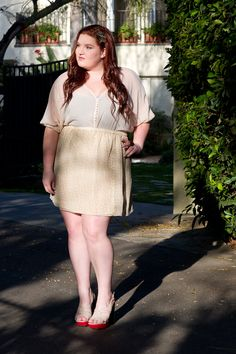 LOVING the all the nude colours. Curvy girl chic.
