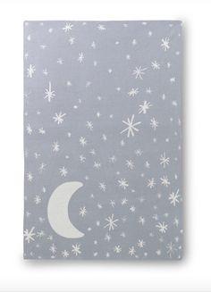 Stars and moon galaxy blanket for nursery.