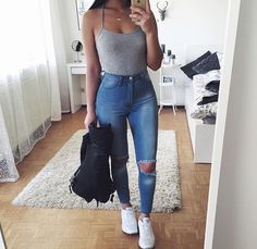 outfit goals 18 Super Cheap Ripped Jeans You Must Buy 18 Super Cheap Ripped Jeans You Must Buy Style Spacez Tumblr Outfits, Mode Outfits, Trendy Outfits, Girl Outfits, Fashion Outfits, Ootd Fashion, Baddie Outfits Party, Fashion Ideas, Casual Outfits For Teens