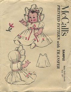 Vintage Doll Clothes Sewing Pattern | Baby Doll's Outfit | McCall's Sample Pattern | Year 1951 | Size 20""